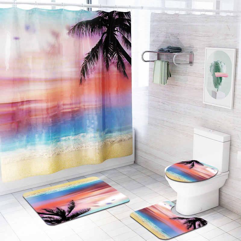 Dusk Beach 4 Pcs Set Shower Curtain Bath Rug Set Toilet Cover Bath