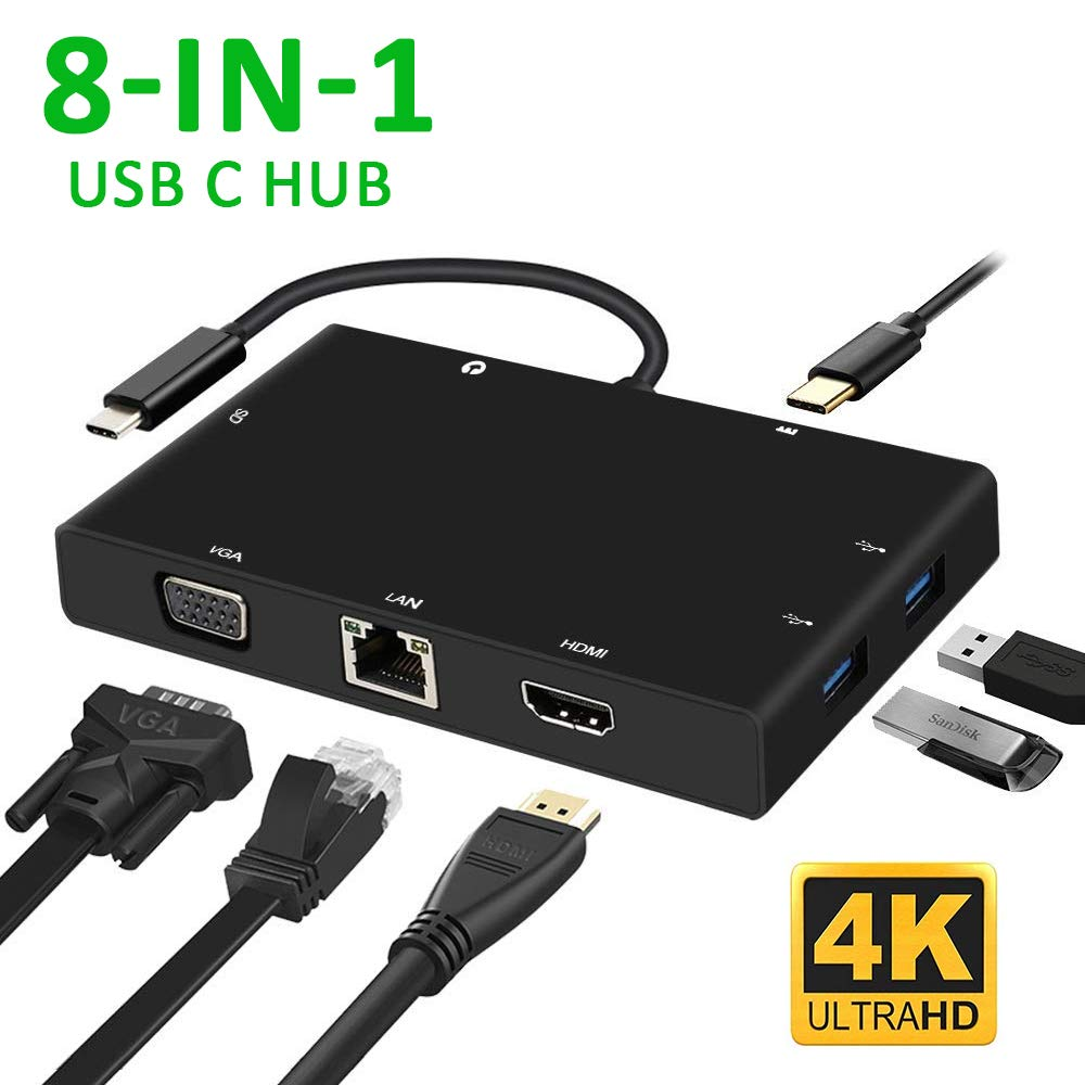 USB C 3.1 Type C HUB à HDMI VGA RJ45 Gigabit Ethernet USB 3.0 lecteur de carte sd 3.5mm Audio PD Charge adaptateur pour macbook