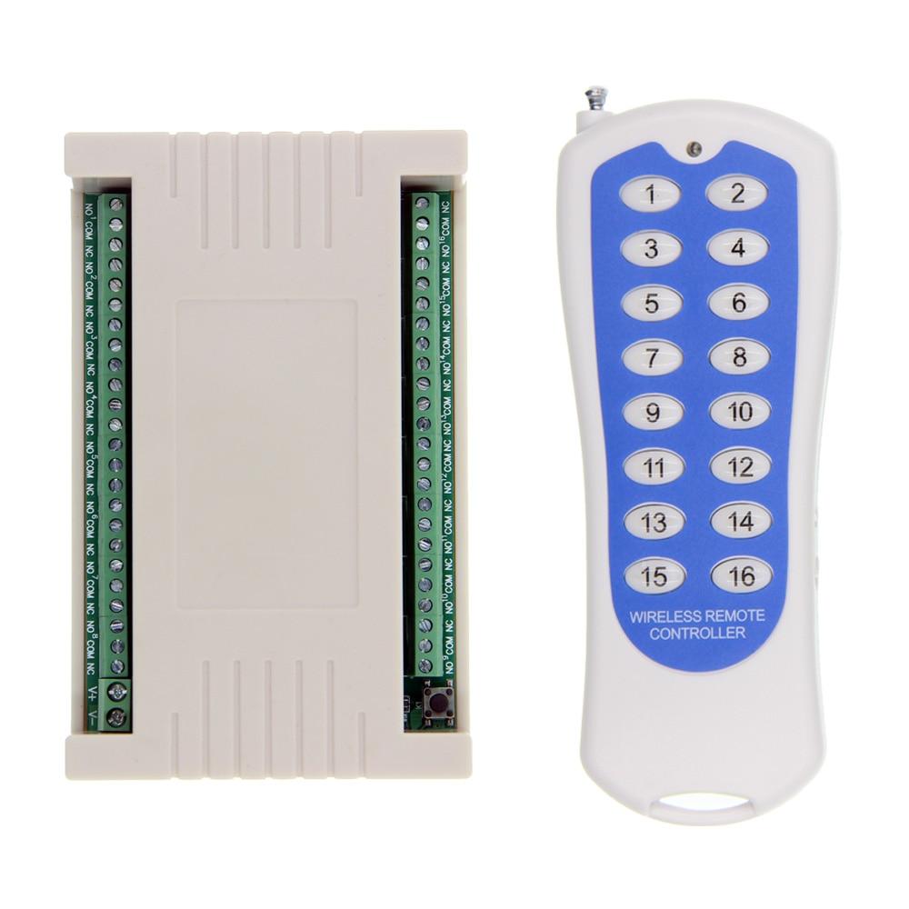 2019 nouveau DC 12 V 24 V 16 CH canaux 16CH RF système de commutateur de télécommande sans fil, émetteur + récepteur, 315/433 MHz