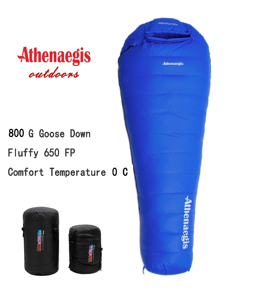 Athenaegis ultra-léger confortable étanche 800g duvet d'oie blanche de remplissage peut être épissé sac de couchage d'hiver
