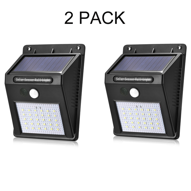 Solar Motion Sensor Lights 2 Pack Detector 30 Leds Outdoor Ed Waterproof