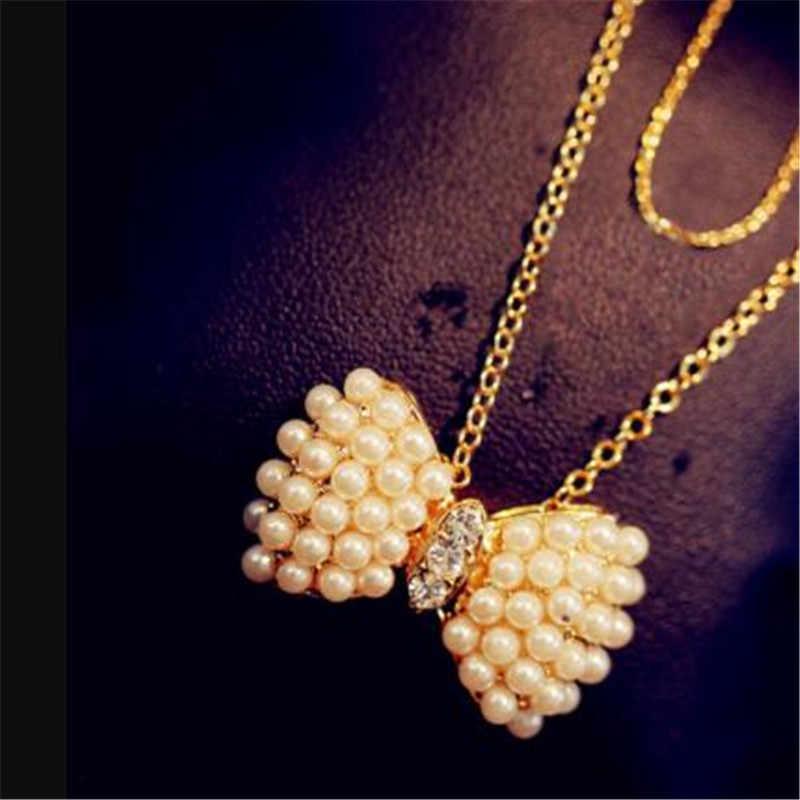 LUSION العصرية مقلد اللؤلؤ لطيف القوس قلادة للنساء الذهب الشظية اللون ليف قلائد المختنق مجوهرات جديد حار