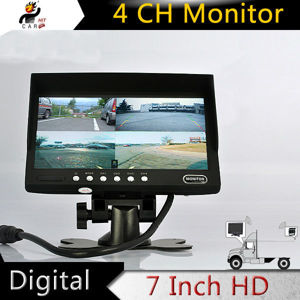 7 Inch Car Reverse Parking / CCTV 4 Split Channel Quad Video Color Display LED Monitor for BUS Truck Trailer Surveillance diysecur 4pin dc12v 24v 7 inch 4 split quad lcd screen display rear view video security monitor for car truck bus cctv camera