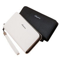 Famous Brand PU Leather Solid Black White Color Business Men Wallets Credit Card Holders With Coin