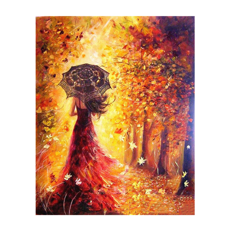DIY Painting By Numbers Frameless Beautiful Women Autumn Landscape Coloring Pictures by Numbers Modern Wall Art Picture Gift
