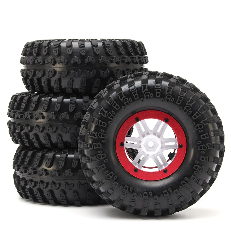 AUSTAR 4PCS Wheel Tires Rims Inflate Beadlock Pneumatic Tyre 3021RD For 1/10 RC Car 4pcs 1 9 rubber tires