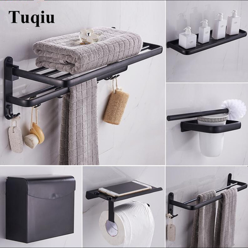 Black Bathroom Accessories Set Space Aluminum Bath Hardware Sets Towel Rack,Paper holder Toilet Brush Holder Robe Hooks european towel rack paper holder hooks bath hardware set copper racks rose gold ceramic base bathroom hardware accessories ym6