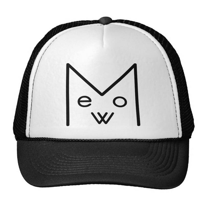Meow Cat Print Baseball Cap Trucker Hat For Women Men Unisex Mesh Adjustable Size Drop Ship M-160 chemo skullies satin cap bandana wrap cancer hat cap chemo slip on bonnet 10 colors 10pcs lot free ship