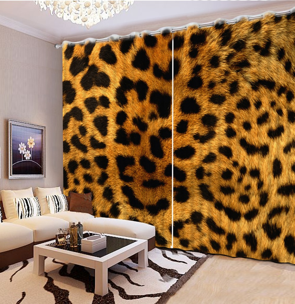 Modern Chinese Luxury 3D Blackout Leopard Curtains For Bedding Room Living Drapes Hotel Cortinas De
