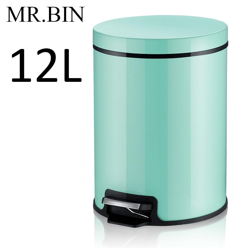 MR. BIN Макарон плюс мусорный бак с 5L/8L/12L ёмкость красочные педаль отходов Bin металлическая мусорная корзина для дома и кухня - Цвет: 12L Mint Green