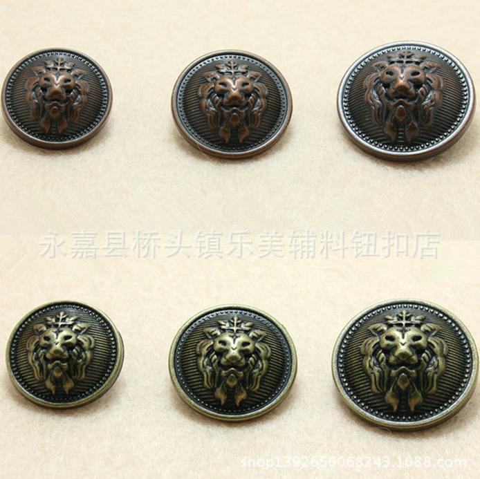 2019 New Style Plating Bronze Copper Metal Vintage Lion Sweater 2-holes Button Shank Coat Buttons 100pcs/lot Free Shipping Apparel Sewing & Fabric