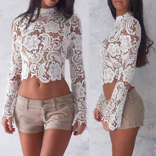 c80a0f0613d ... Sexy Flare Sleeve Lace Crochet Blouse Women Long Sleeve White Lace  Hollow Out Cropped Shirt Casual ...
