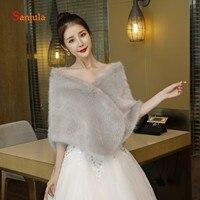 Grey Faux Fur Bridal Wraps Shrug Wedding Shawl for Women Dress Accessories Birde Winter Wedding Cape estola de fiesta W14