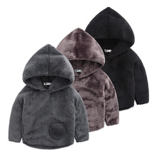 Baby with pure wool fleece male the new qiu dong outfit 2016 children a hooded sweater boy double-sided velvet coat color