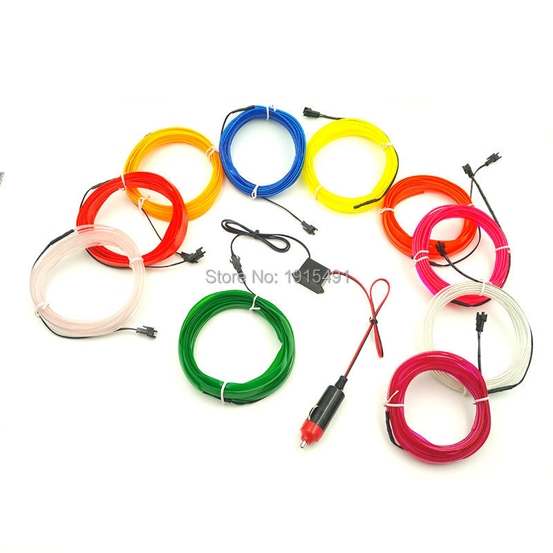 2.3mm skirt EL Wire 10Meters Flexible Novelty Light Glowing 10 colors Select with DIY Car Interior Decorative with DC12V Control