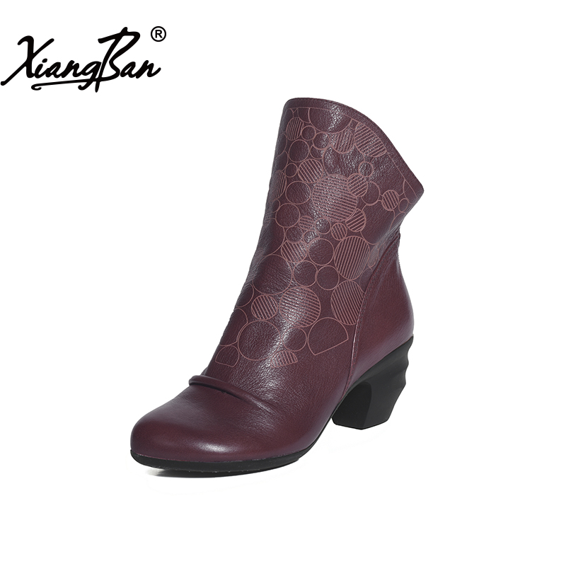 Xiangban Women Leather Shoes Winter Western Style Elegant Female Ankle Boots Fashion Vintage Zipper Boots black women ankle boots handmade vintage medium heel round head shoes elegant boots xiangban