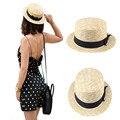 Mujeres Señora Navegante Sol de Verano Playa sombrero Cinta Ronda Flat Top Beige Fedora de la Paja Sombrero de Panamá Buen Paquete 20