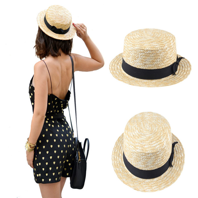c811b3e1 Women Lady Boater Summer Sun hat Beach Ribbon Round Flat Top Beige Straw  Fedora Panama Hat Good Package 20