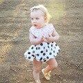 2017 New Polka Dot Kids Newborn Baby Girls Dress  Clothing Set Cotton Infant Toddler Bebe Dot Dresses Pp Harem Pants Shorts 2pcs