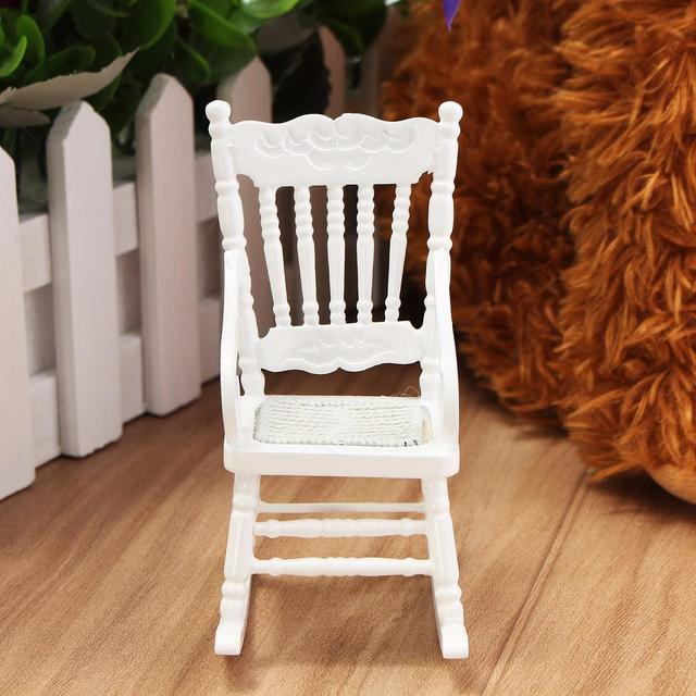 New 1:12 Dollhouse Miniature Furniture White Wooden Rocking Chair Hemp Rope  Seat For Dolls