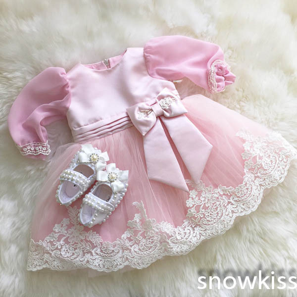 Blush Pink Lace Flower Girl Dresses For Little Kids Lovely First