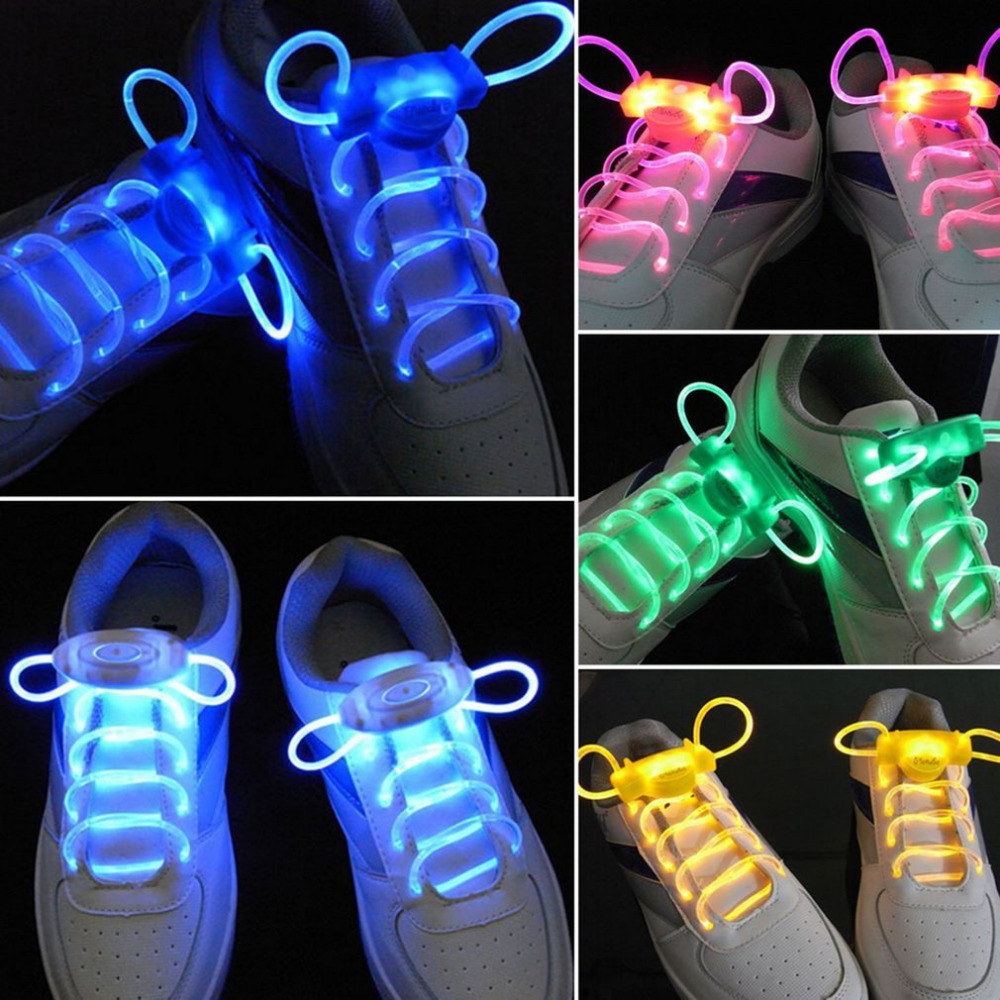 Cool LED Sport Shoe Laces Flash Light Glow Stick Strap Shoelaces Disco Party Club Flat Shoelaces 2018 Hot Selling Tie Shoe