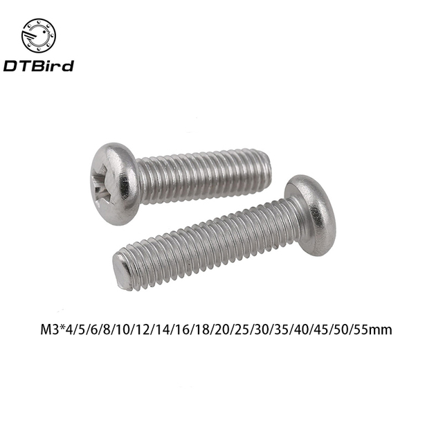 50pcs GB818 M3 304 Stainless Steel Phillips Cross recessed pan head Screw  M3 (4 8e88fb7d77d