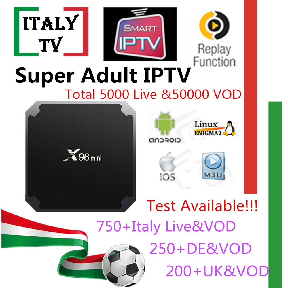 Super IPTV Subscription X96mini Android tv box Italy Albania German UK 5000+Live 50,000 VOD+ Adult xxx iptv m3u mag Smart tv box italy iptv a95x pro voice control with 1 year box 2g 16g italy iptv epg 4000 live vod configured europe albania ex yu xxx