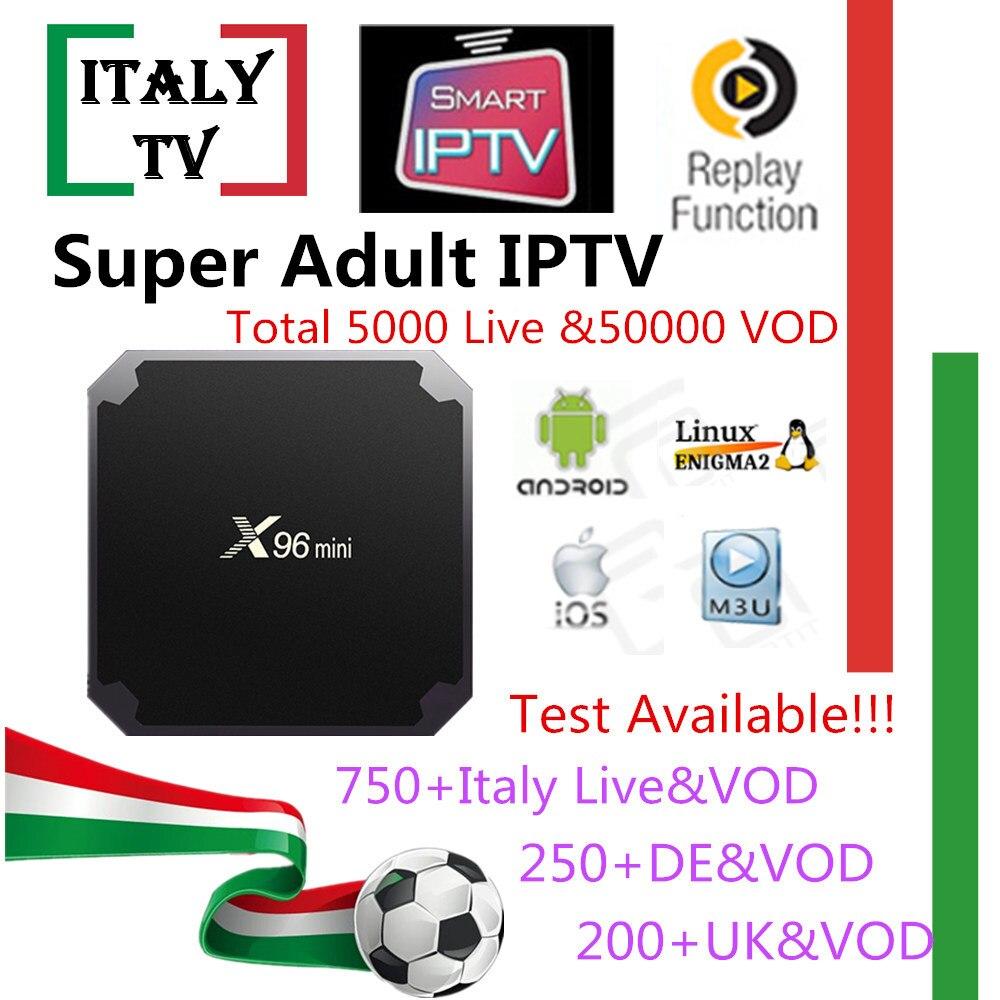 Super IPTV suscripción X96mini Android tv box Italia Albania alemán Reino Unido 5000 en vivo + 50.000 VOD + adultos xxx iptv m3u mag Smart tv caja