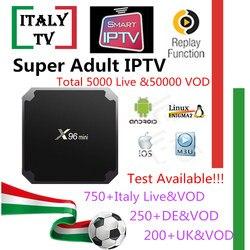 Super assinatura iptv x96mini android caixa de tv itália albânia alemão reino unido 5000 + viver 50,000 vod adulto xxx iptv m3u mag caixa de tv inteligente