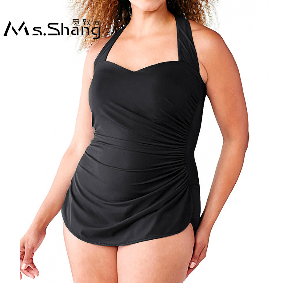 48a73c8b6f7c6 Ms.Shang Solid One Piece Swimsuit Women Plus Size Swimwear 2018 Push Up  Bathing Suit Women Halter Top Swimming Suits Black 5XL-in Body Suits from  Sports ...
