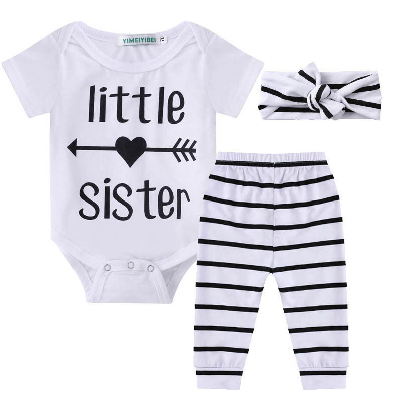 Newborn Infant Baby Girl Little Sister Romper Pants Headband Outfits Set Clothes Children Infant Girls Sister Clothing Set 2pcs new baby girl clothing sets lace tutu romper dress jumpersuit headband 2pcs set bebes infant 1st birthday superman costumes 0 2t