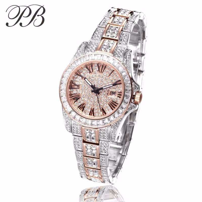 PB Luxury Brand Dress Designer Watch Crystal Rose Gold Watch Waterproof Quartz Ladies Watch Horloges Vrouwen in Women 39 s Watches from Watches