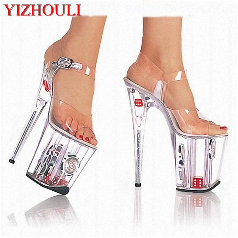 Star performance shoes/shoes/high water brought shoes 20 CM/CM sandals/ultra high heels Fashion crystal shoes