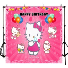 Photography Backdrop Newborn Cartoon Hello Kitty Birthday Ballons Flag Background Photo Shoot Photocall Photobooth Fabric Decor allenjoy photography backdrop unicorn birthday rainbow stars clouds background photo shoot photocall photobooth fabric decor