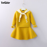 Yorkzaler Autumn Winter Kids   Clothing     Set   For Girl Long Sleeve Sweater+ Short Skirt Children's 2pcs Clothes Wool Infant Outfits