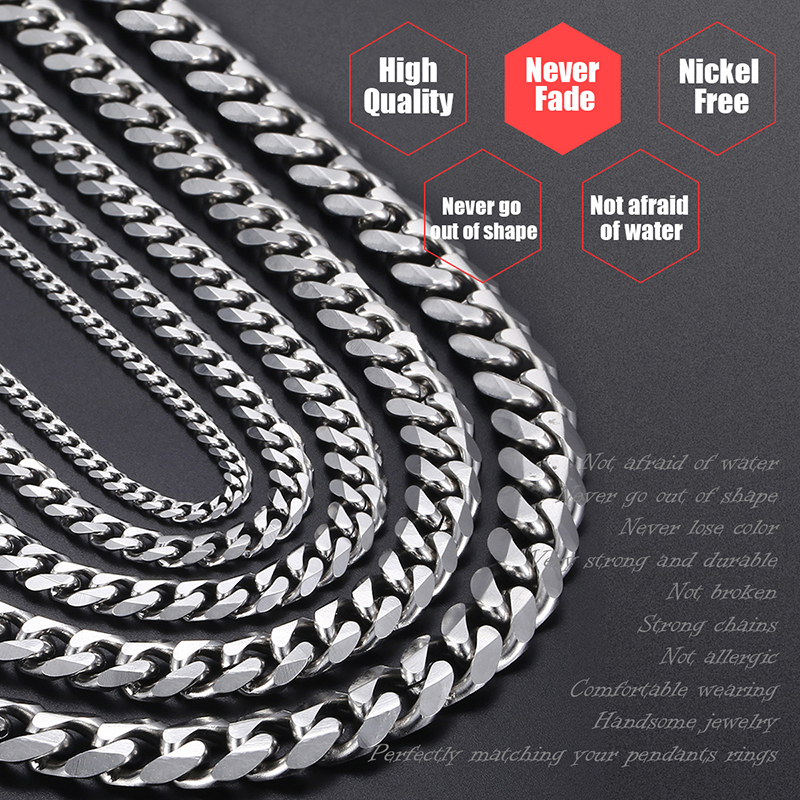 Mens Necklaces Chains Stainless Steel Silver Black Gold Necklace for Men Women Curb Cuban Davieslee Jewelry 3/5/7/9/11mm DLKNM08 7
