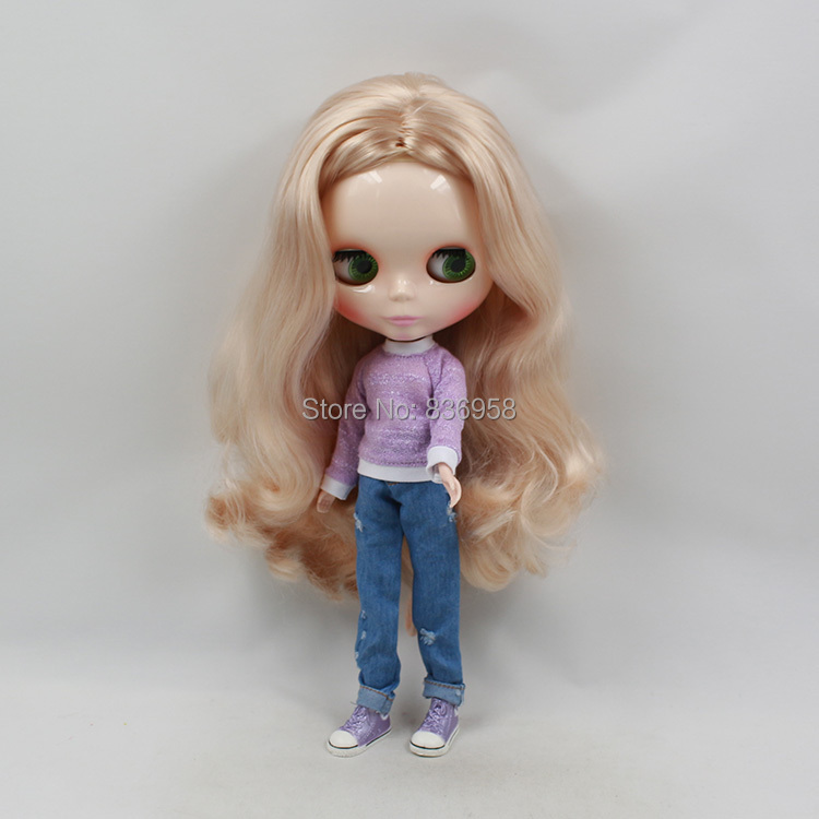 Nude Doll toy gift blyth doll 230BL339(30m) Long golden hair white skin centra parting adiors long middle parting shaggy wavy color mix synthetic party wig