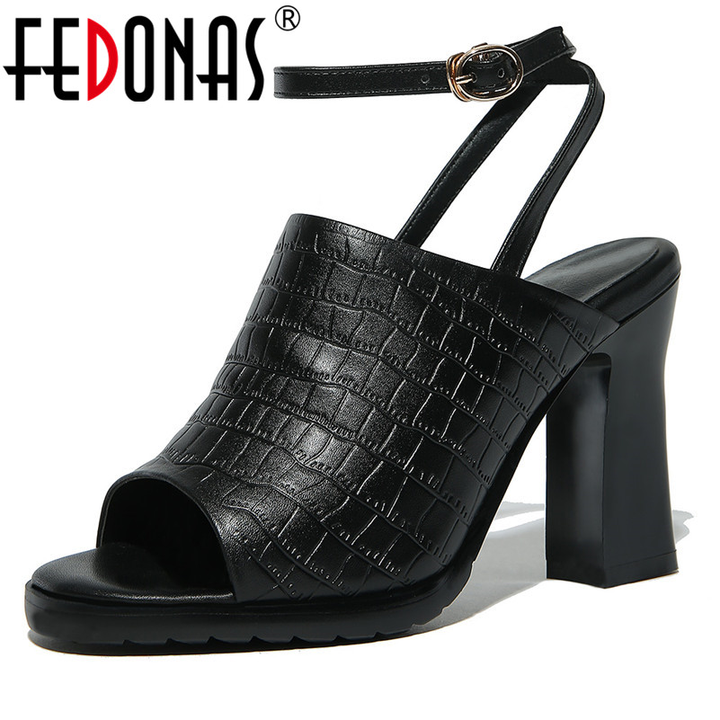 FEDONAS New Women High Heels Sandals Summer Square Heels Genuine Leather Platforms Shoes Woman Ladies Sexy Party Wedding Shoes fedonas sexy women sandals high heel buckles wedding party shoes woman genuine leather ladies shoes pointed toe summer slippers
