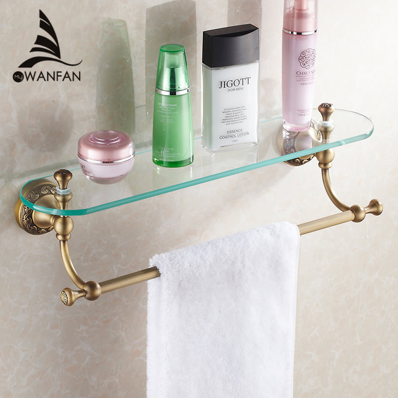 Bathroom Shelves Brass Antique Single Tempered Glass Shelf Towel Bar Shower Storage Towel Hanger Rack Accessories Holder  3713 whole brass blackend antique ceramic bath towel rack bathroom towel shelf bathroom towel holder antique black double towel shelf