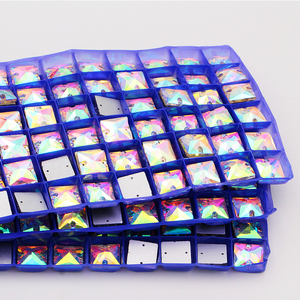Image 5 - 12mm תפירת קריסטל AB Flatback Rhinestones לתפור על גבישי אבנים כיכר Strass עבור DIY בגדי מלאכות 50pc
