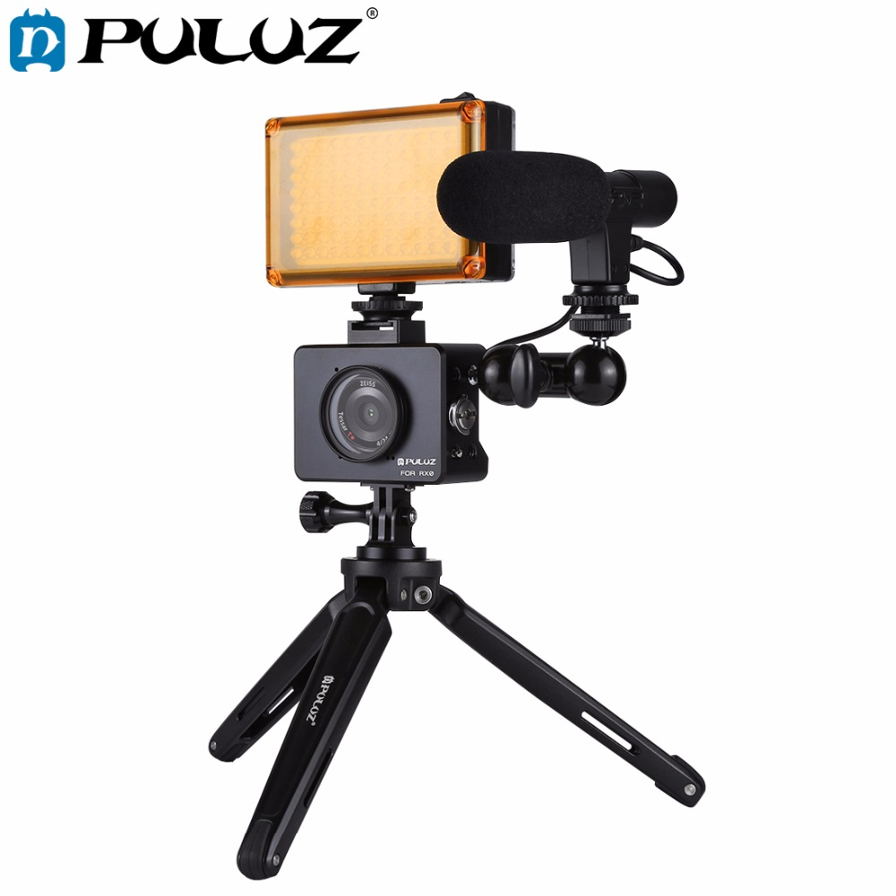 PULUZ for Sony RX0 Housing Shell Aluminum Cage+Swivel Ball Head Magic Arm+Desktop Tripod Mount+Photo Studio Light+Microphone Kit