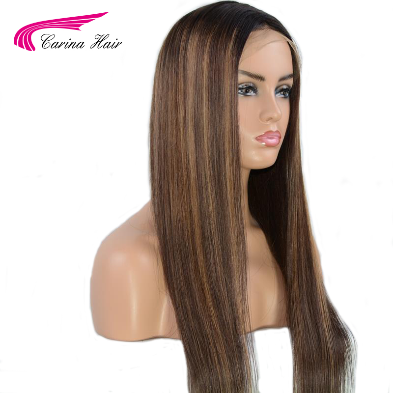 Carina Ombre Brazilian Lace Front Human Hair Wigs With Baby Hair Staright Remy Pre Plucked 13X6 Lace Front Wig For Women