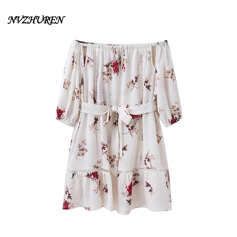 NVZHUREN Strapless Print Summer Dress For Women White Office Work Dress With Sashes Hollow Out Off Shoulder Ladies Vintage Dress