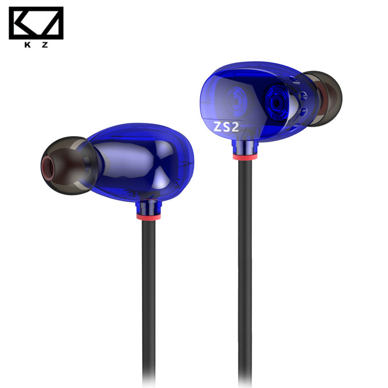 Original KZ ZS2 HiFi Stereo Metal In-ear Wired Earphone Dual Dynamic Driver Monitoring Noise Cancelling Subwoofer Bass Earbuds