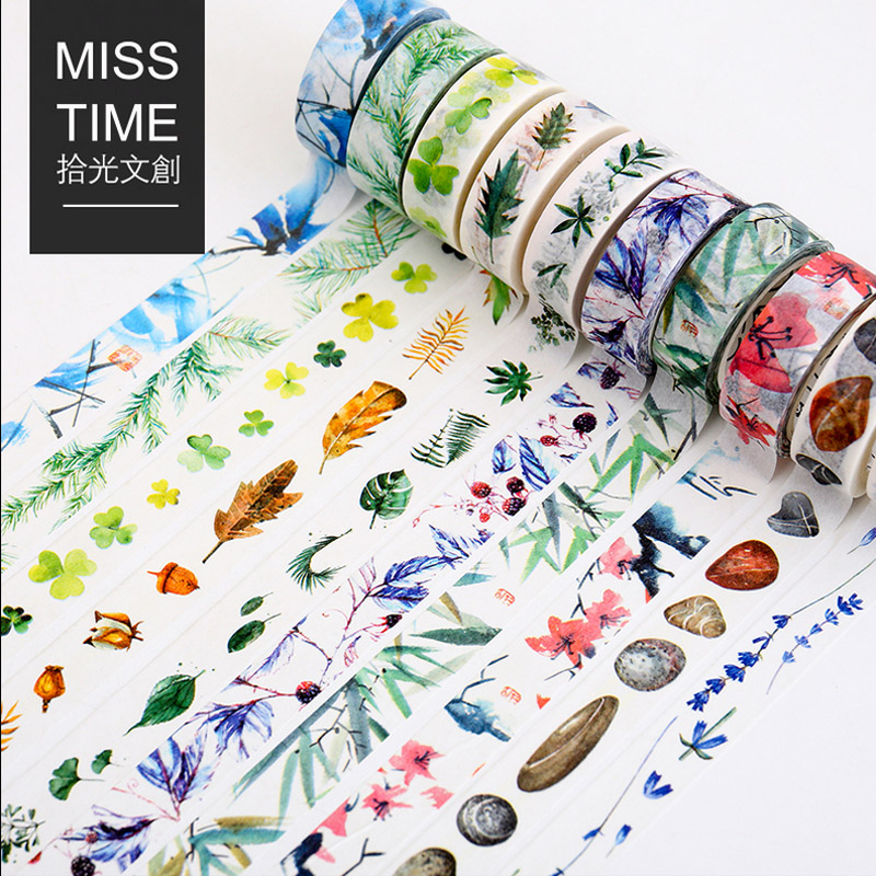 1 5cm 8m Natural plant landsc washi tape DIY decoration scrapbooking planner masking tape adhesive tape