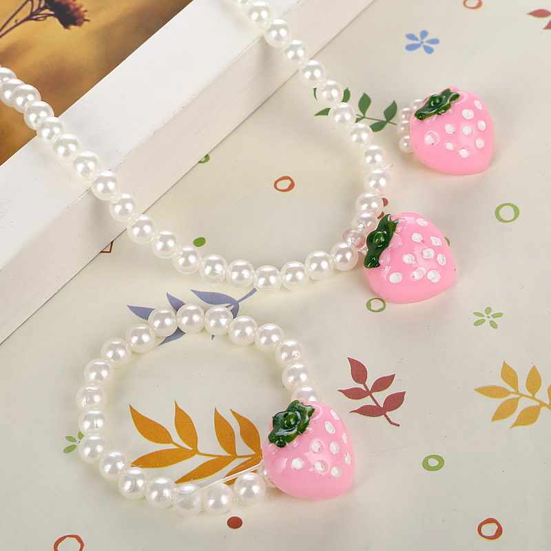 Pink Girls Strawberry Simulated Pearl Necklace Adjustable Finger Ring Cute Children Beads Jewelry Sets for Kids
