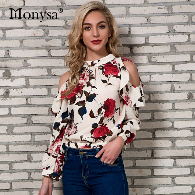Cold Shoulder Tops Womens 2018 New Arrivals Spring Long Sleeve Blouses Ladies Floral Print Chiffon Streetwear Blouse Women