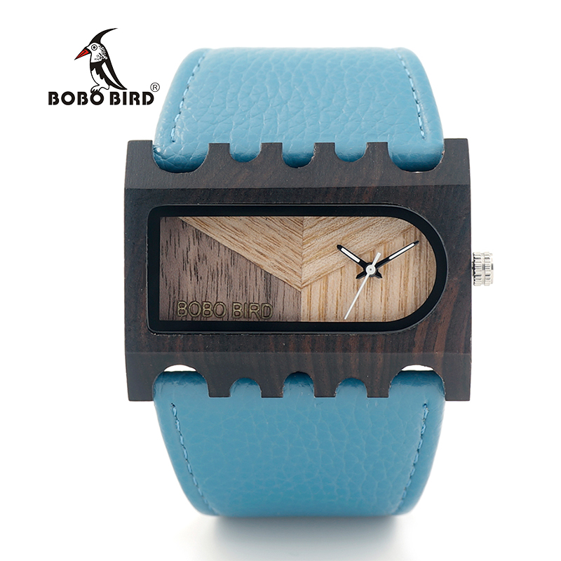 BOBO BIRD New Designer Wooden Watches Women with PU Leather Strap Quartz Watch Analog Casual Wood Ladies Wristwatches bobo bird brand new wood sunglasses with wood box polarized for men and women beech wooden sun glasses cool oculos 2017
