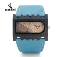 BOBO BIRD Women Wooden Watches New Designer with PU Leather Strap Quartz Watch For Gift Box C dN23